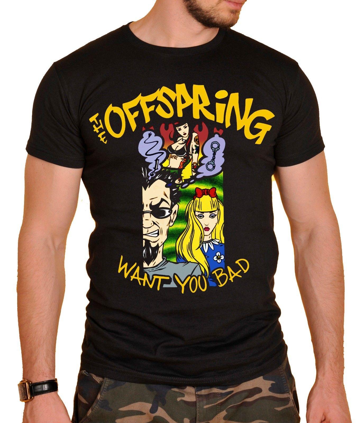 Потомство рок-группа футболка черный новый Повседневное плюс Размеры футболки хип-хоп Стиль Футболки S 3Xl рукав рубашки модные