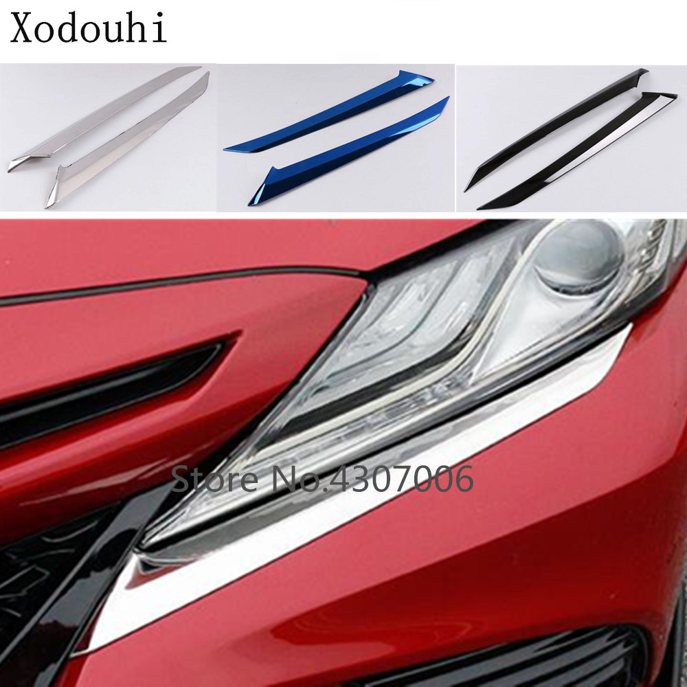 Honest Car Stainless Steel Front Head Light Lamp Detector Frame Stick Cover Trim Eyebrow For Toyota New Camry Xv70 2017 2018 2019 Shrink-Proof Automobiles & Motorcycles Auto Replacement Parts