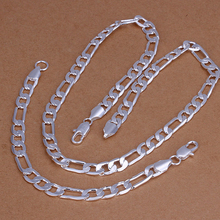 2015new 925 sterling silver 8mm figaro men's fine chains necklace bracelet  for women men's  fine fashion jewerly wholesale