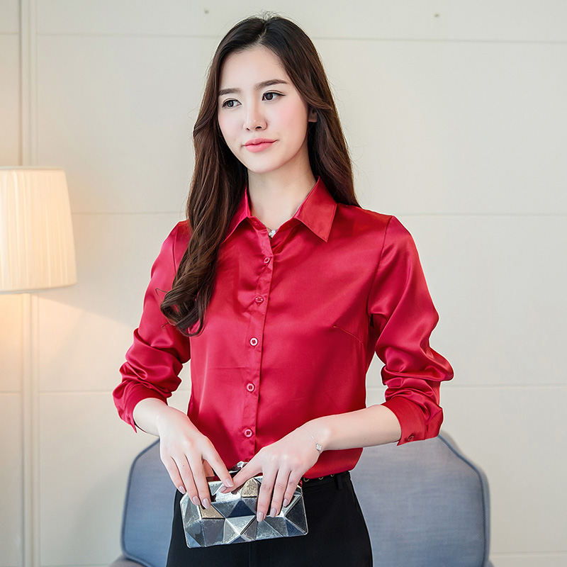 fe5fc1d9aa8b4 S 3XL Plus Size Shirt Women Tops Casual Loose Long Sleeve Solid Silk Shirts  Spring Office OL Formal Blouse Tops Blue Red Blusas-in Blouses   Shirts  from ...