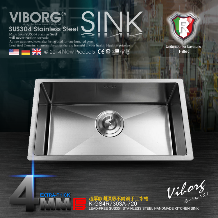 (720 x 400 x 220 mm) VIBORG Deluxe Handmade Extra thick 304 Stainless Steel Undermount Single Bowl Kitchen Sink-in Kitchen Sinks from Home Improvement    2