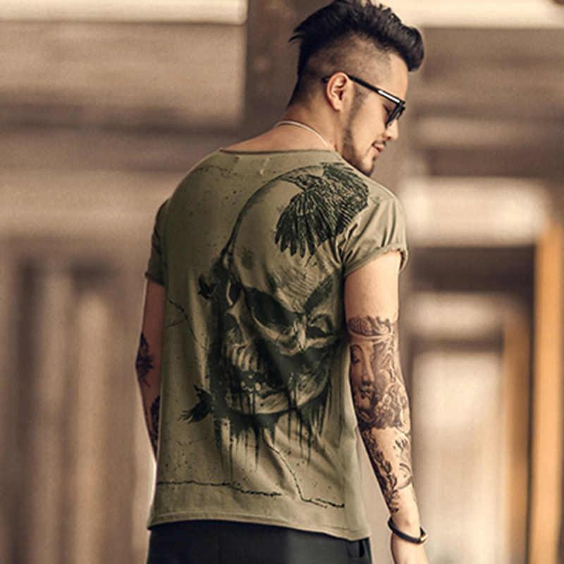 גברים קיץ מקרית כותנה קצר שרוול מודפס גולגולת T חולצת גברים Slim באיכות גבוהה אופנה חדש חולצת טי טי חולצות בגדים t4366