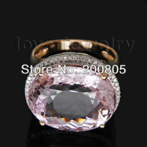 New!Vintage 14Kt Rose Gold Diamond Kunzite Ring Wedding Ring Oval 10x17mm R00324 ...