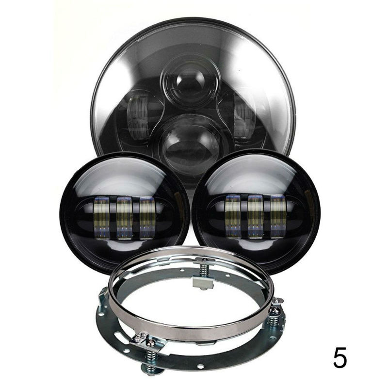 Motorcycle Headlight Conversion Kits 7 inch Round LED Headlight and 4 5 Fog Passing Light 7