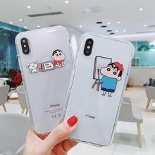Cute cartoon fun pattern Crayon Shin-chan phone case For iPhone 8 7 6 6S Plus XR XS MAX animal puppy clear soft TPU back cover цена и фото