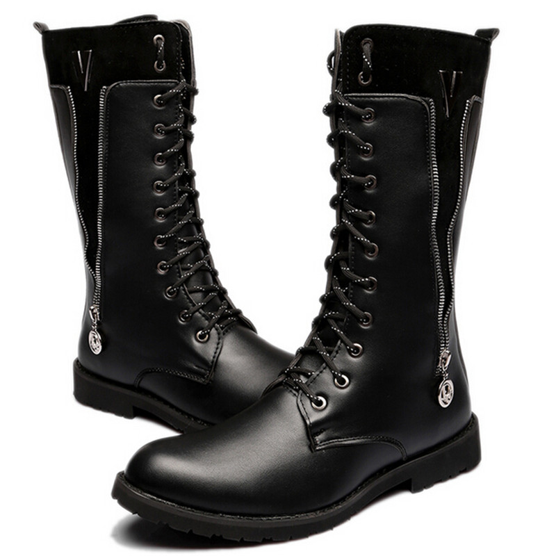 Fashion Elevator Male Martin Boots High-leg Knee-high Fashion Punk Rock Outdoor Motorcycle Boats Riding Men Denim Shoes Always Buy Good Shoes
