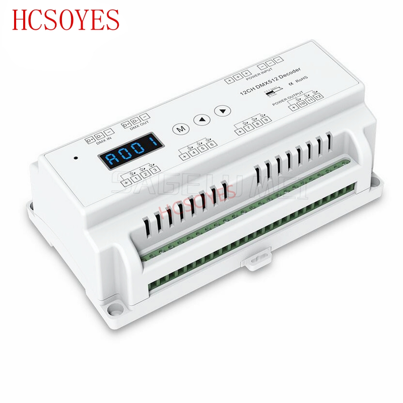 D12 DC5V 36V input 12 Channels 12CH CV DMX512 Decoder 5A 12CH output with display for