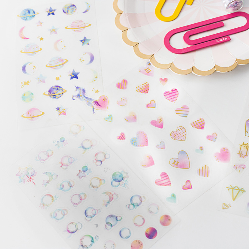 Heart Star Bullet Journal Decorative Sticker Diary Album Label Sticker DIY Scrapbooking Stationery Stickers Escolar