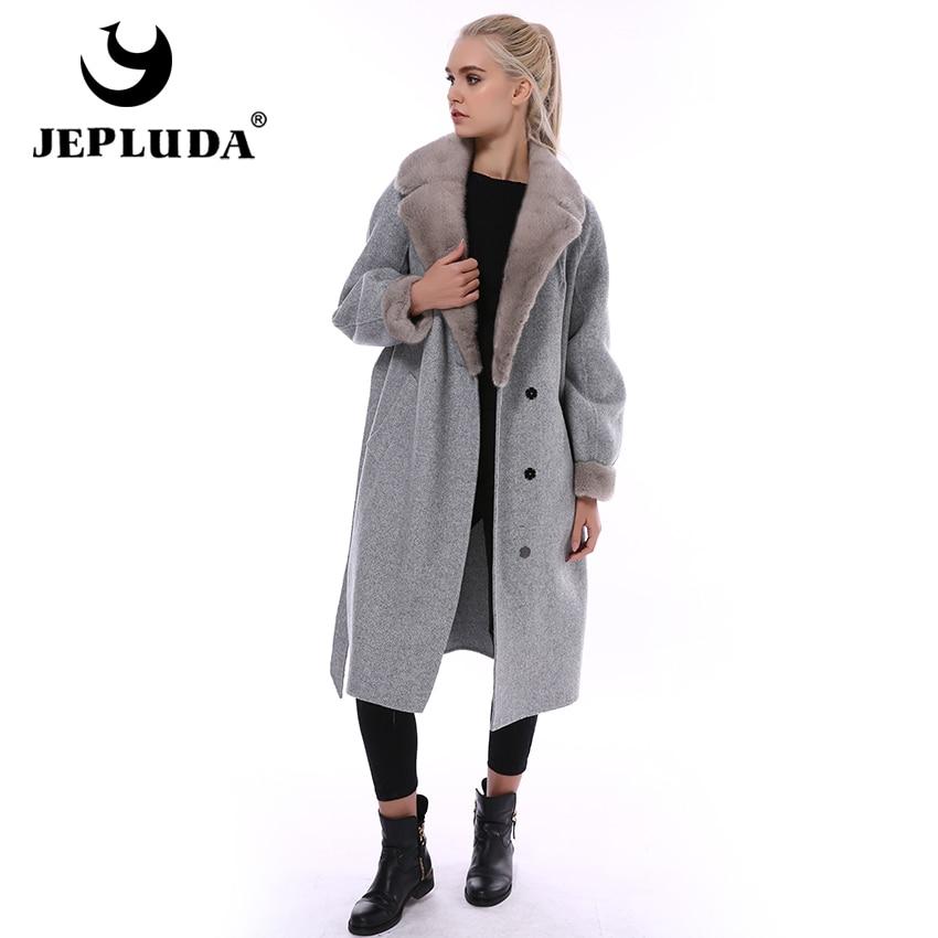 JEPLUDA High Content Cashmere Coat Women Winter Real Mink Fur Collar Real Fur Coat Long 100% Natural Wool Blends Real Fur Jacket