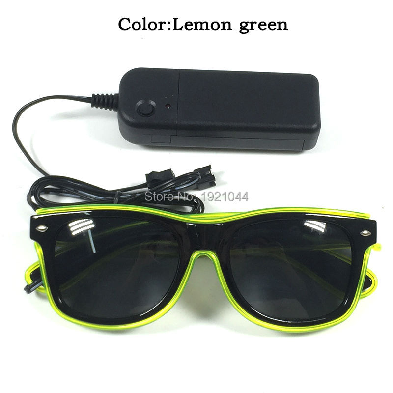 Hot Sale EL Wire Glowing Sunglasses with dark lens DC-3V Steady on Inverter LED Neon Light up Glasses for Glow Party Decoration