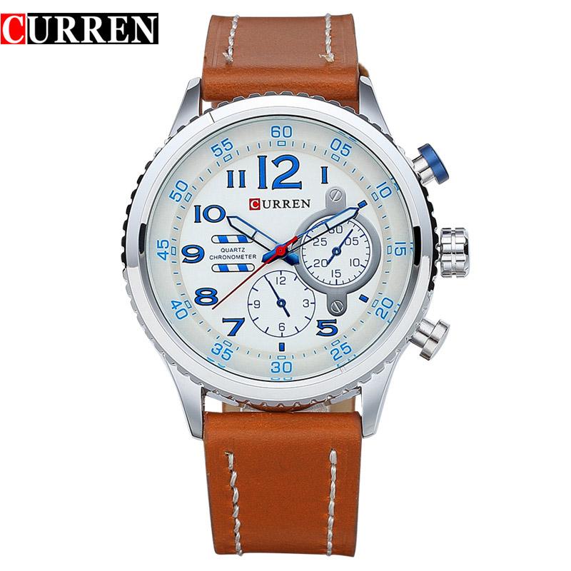 Prix pour 2016 CURREN Mode Casual En Cuir Quartz Montre Hommes Mâle Sport Célèbre Marque Montre-Bracelet Relogio Masculino 8179