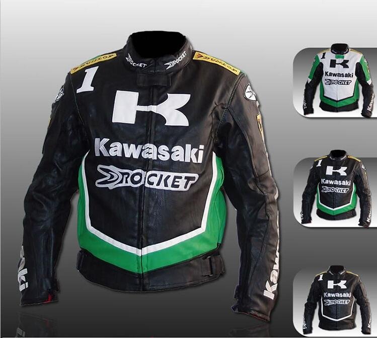 kawasaki motorcycle jacket clothing automobile race off road motorcycle PU leather jacket ride jersey windproof