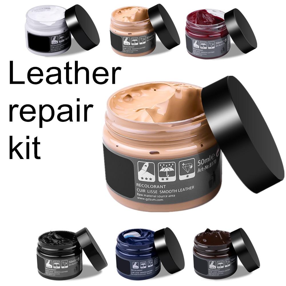 Набор для ремонта кожи в кремовом стиле, автомобильное сиденье, инструмент для восстановления цвета, исправление царапин, трещин, перекраши...