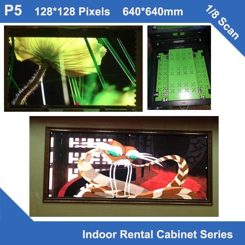TEEHO 6pcs/lot Led Sign P5 Indoor Aluminum Profile Cabinet 640mm*640mm  128x128dots Slim