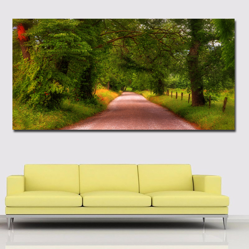 Large Size HD Prints Gree Trees And Roads Landscape Painting For Living Room Home Decor Modern Wall Art Prints Posters No framed image