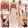 2016 Sexy Backless Maxi vestido Spaghetti V Neck branco / rosa vestido de baile Chiffon vestidos