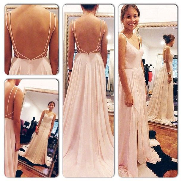 2019 Sexy Backless Maxi   Dress   Spaghetti Straps V Neck White/Pink Open Back   Prom     Dress   Chiffon Long Evening   Dresses