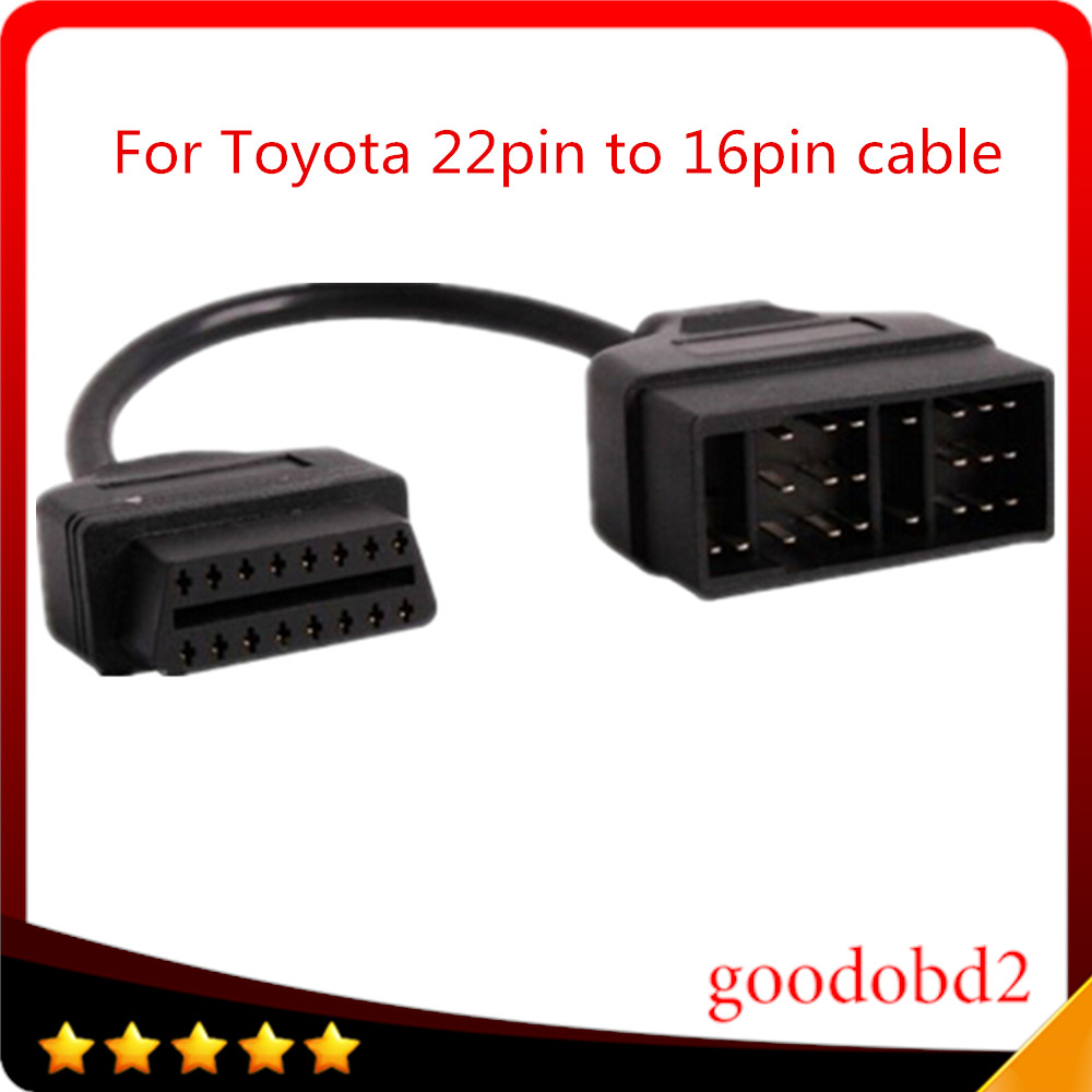 For <font><b>Toyota</b></font> OBD Connect 22 Pin <font><b>22pin</b></font> Male to OBD2 OBDII DLC 16 Pin 16pin Female Connection Adapter Cables Diagnostic car cable image