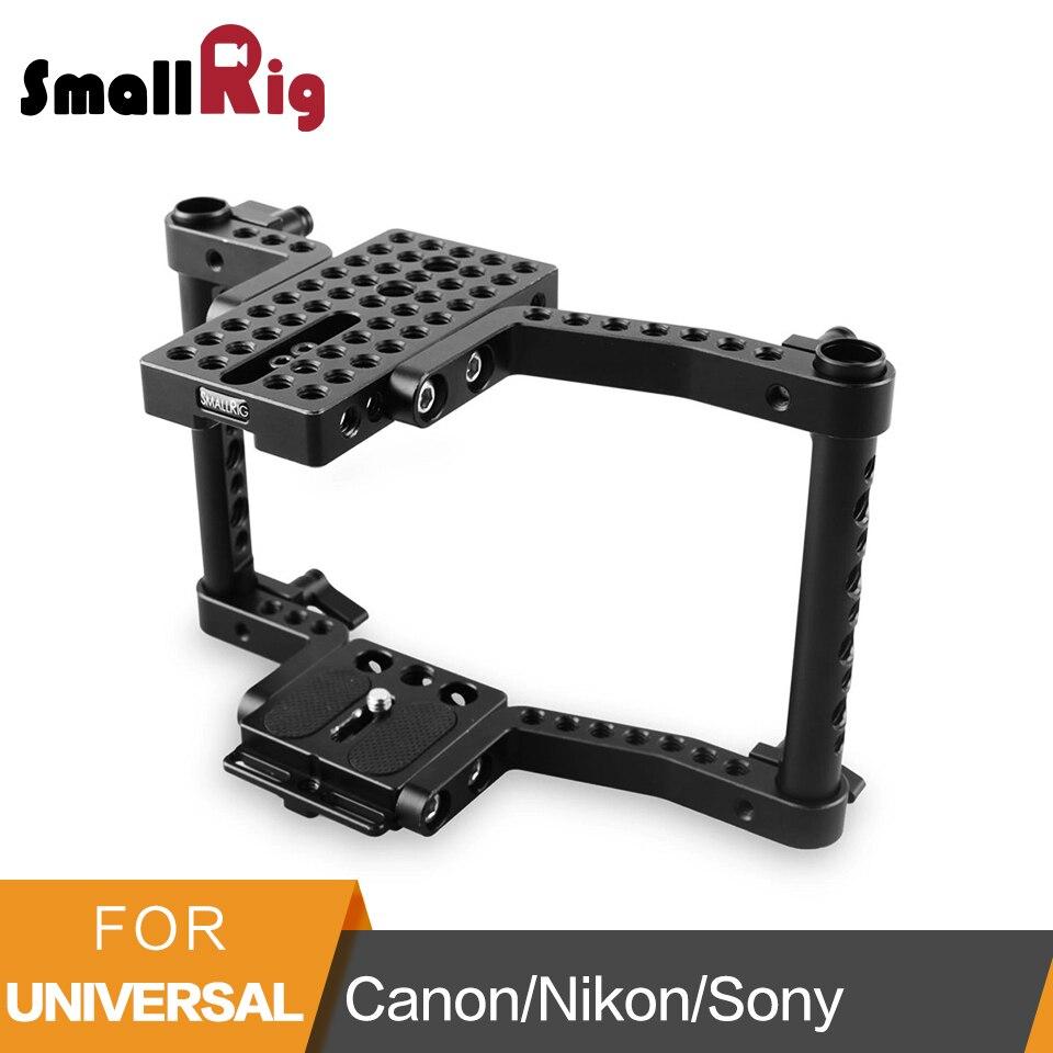 Smallrig Cámara jaula para Canon 50 60 70 80D MarkII 5D MarkIII 5DS para Nikon D7000 7100, 7200 para Sony A9 DSLR cámara-1584