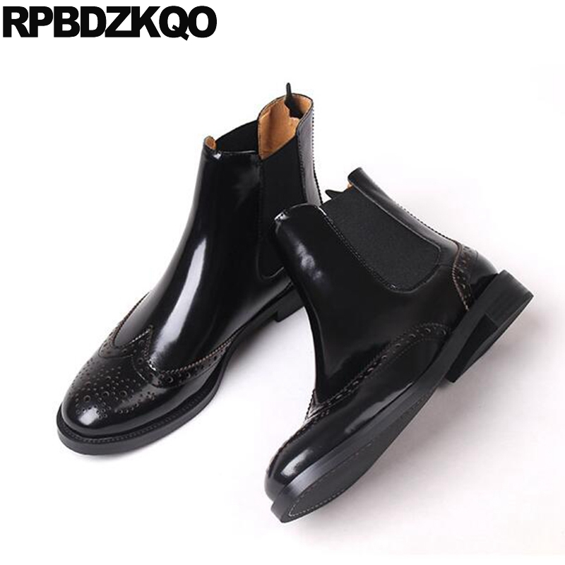 Autumn Trend Shoes Chunky Flat Chelsea Women Ankle Boots 2016 Round Toe Patent Leather Black Brogue British Slip On Fashion 4d master cat puzzle assembling toy animal biology organ anatomical model medical teaching skull skeleton model science toys