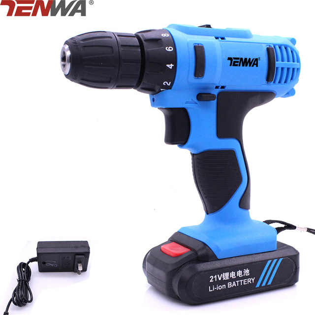 Tenwa  21V  Electric Drill  Max Household DIY  Lithium-Ion Battery  EU  Set 2 Speed Cordless Drill Driver Power Tools 18v 4000mah replacement lithium ion battery electric screwdriver li ion battery for bosch power tools electric cordless drill