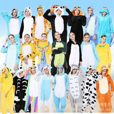 Rose nouveau hiver adultes Animal Kigurumi pyjamas ensembles vêtements de nuit de dessin animé femmes pyjamas licorne point Unicornio chaud flanelle à capuche