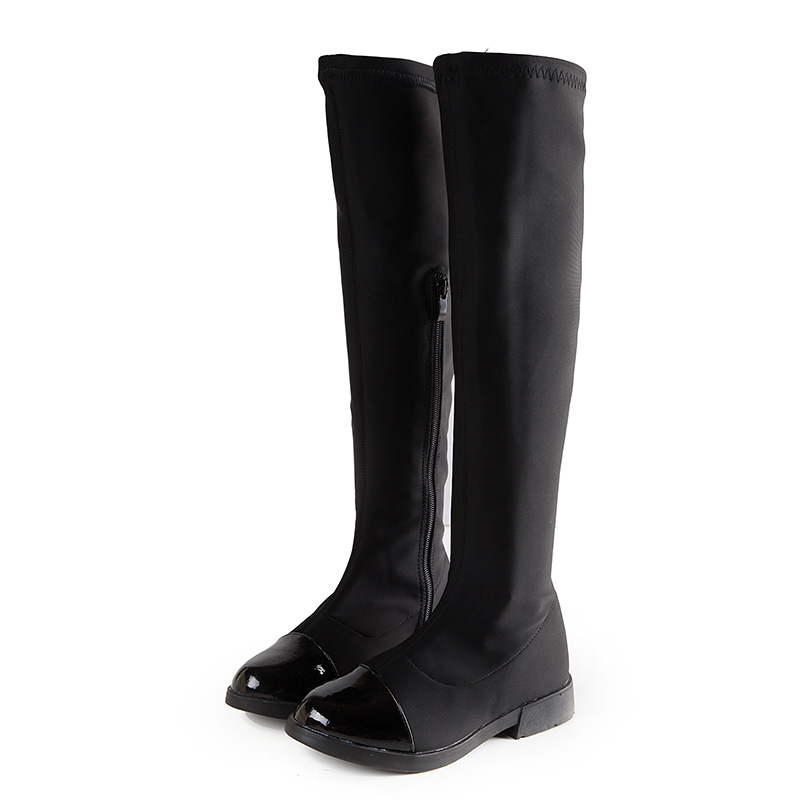 Autumn Girls Knee-High Boots Fashion Winter Shoes Over The Knee Casual Kids Boots Black Children Shoes PU + Cloth Girls Boots ...