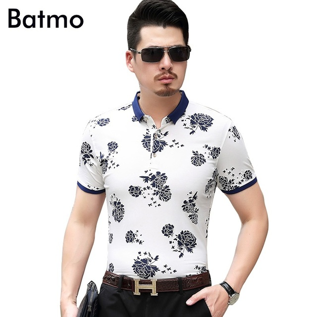 c9b5eb5b42af Batmo 2017 new arrival summer silk Breathable printed floral casual loose polos  shirt men 2 color