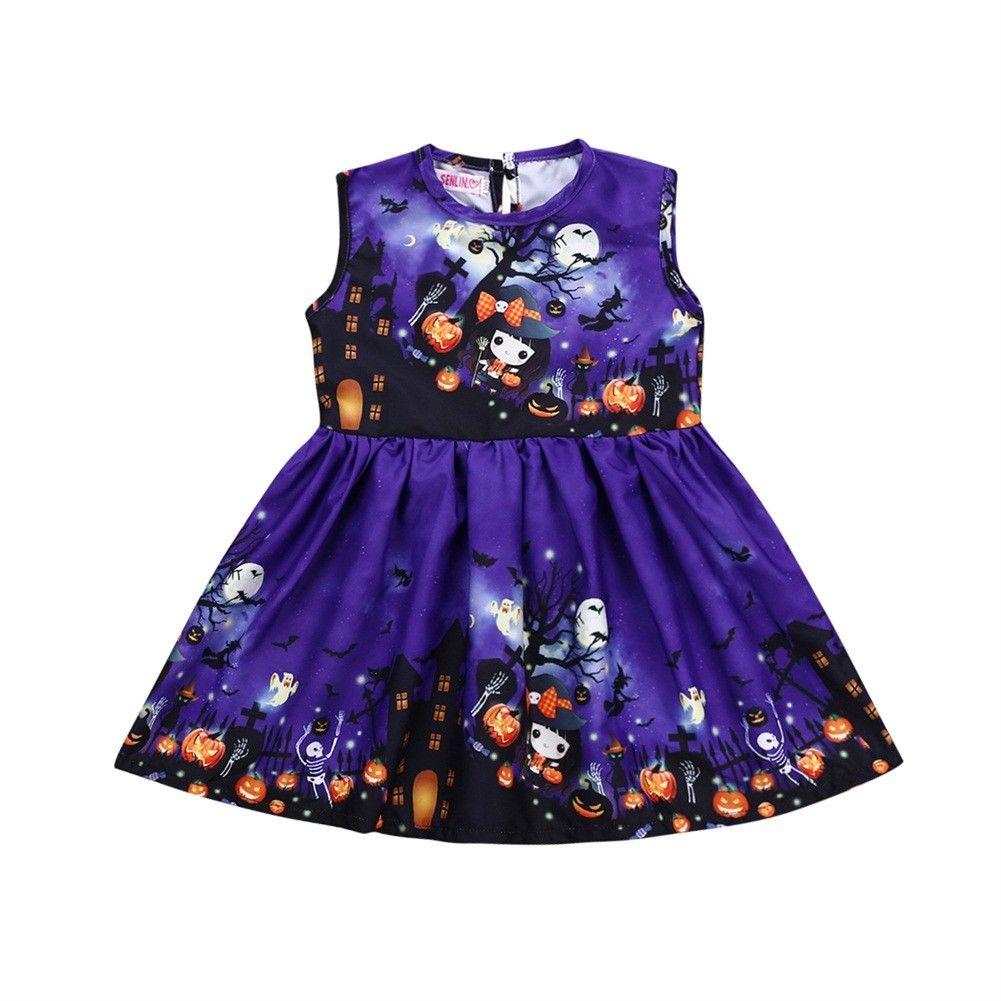Kids Girl Princess Dresses Halloween Sleeveless Toddler Baby Girl Pumpkin Party Dress Knee Length Purple Print Holiday Dress plus size halloween pumpkin spatter print hoodie