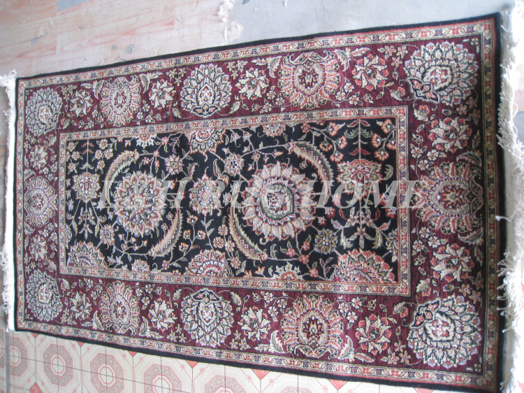 Free shipping 3X5 160 Line Persian carpet, Hand knotted persian rug, wool and silk, mixed dyed yarnsFree shipping 3X5 160 Line Persian carpet, Hand knotted persian rug, wool and silk, mixed dyed yarns