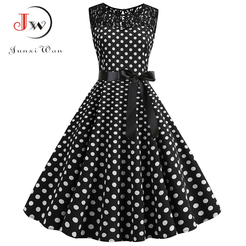 Women Summer Lace Vintage Dress Black Polka Dot Sexy O-neck Beach Dresses Fashion Casual Big Swing Party Robe Plus Size 1