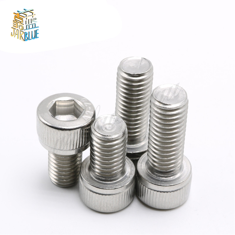50Pcs M1.6 M2 M2.5 M3 M4 DIN912 304/A2 Hexagon Socket Head Cap Screws Hex Socket Screw Furniture Metric Bike Bolt HW003 20pcs m4 m5 m6 din912 304 stainless steel hexagon socket head cap screws hex socket bicycle bolts hw003
