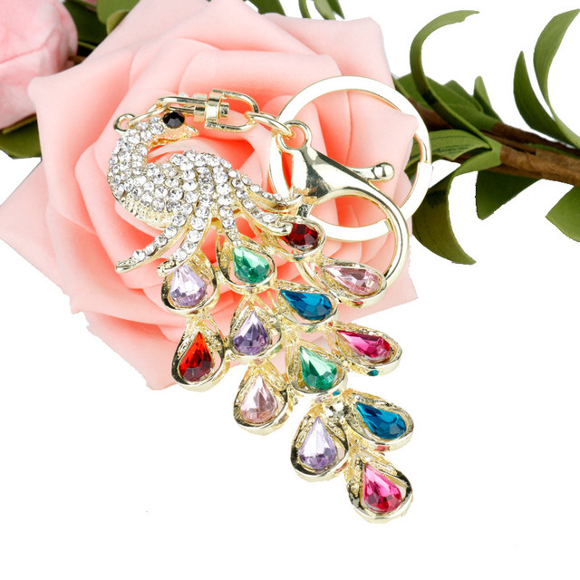 Fashion Jewelry Colorful Crystal Peacock Keychain Key Holder For Women  Purse Handbag Keyrings Charms Car Trinket Accessories 37110c46a