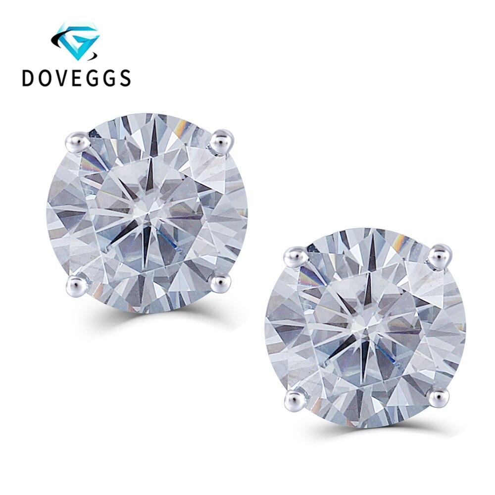 DovEggs Platinum Plated Silver 4CTW 8mm Slight Grey Heart and Arrow Cut Moissanite Stud Earring Push