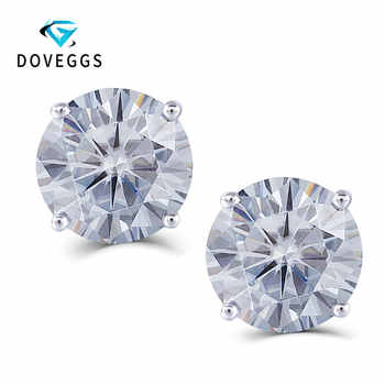 DovEggs Sterling Solid 925 Silver 4CTW 8mm Slight Grey Heart  Arrow Cut Moissanite Stud Earring Push Back for Women with 14K Pin - DISCOUNT ITEM  5% OFF All Category