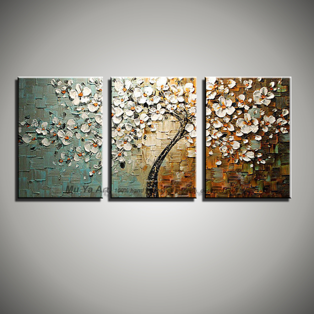 3 Panel Wall Art Canvas Tree Acrylic Decorative Pictures Hand Painted  Decoraion Painting Oil Paintings Modern Flower On Canvas In Painting U0026  Calligraphy ...