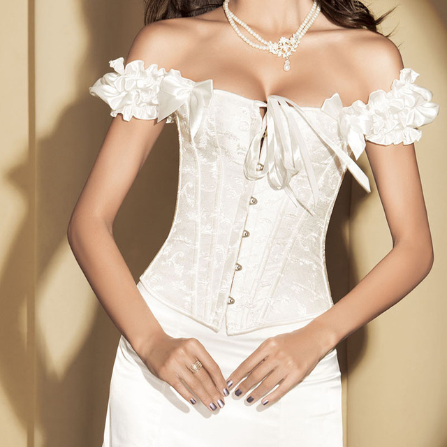 Bridal gothic lingerie sleeve victorian sexy wedding for Corset bra for wedding dress