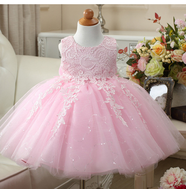 cfe5d674c Flower Girls Princess lace Dress Toddler Baby Wedding Party Pageant ...