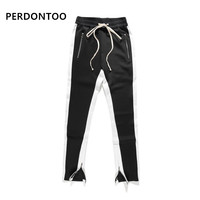 Best Quality Double Striped Track Pant Slim Fit Zipper Ankles Pockets Black Red Trousers Long Cotton