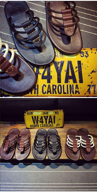 Homens sandálias de couro genuíno sandálias casuais