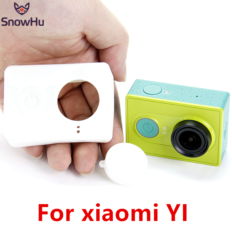 SnowHu Silicone Case and Cap for Xiaomi yi Action Cam 9 Colors: Black Blue Green Red Orange Pink Rose Purple White for xiaomi yi