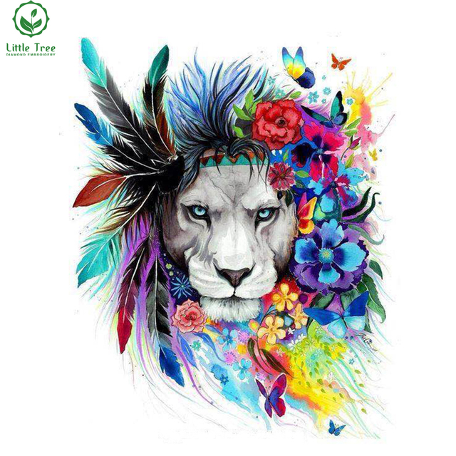 Novedad costura textil tela de color León completo mosaico Cruz ...