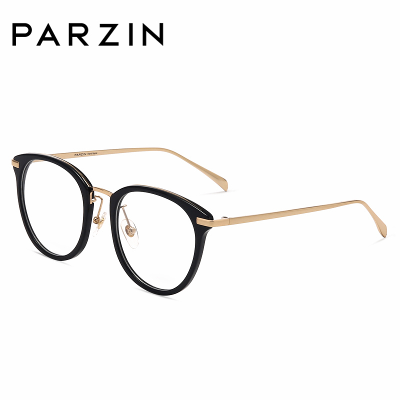 PARZIN Trendy Floral Yong s Round Glasses Frame With Clear Lens Plate and Titanium Big Optics