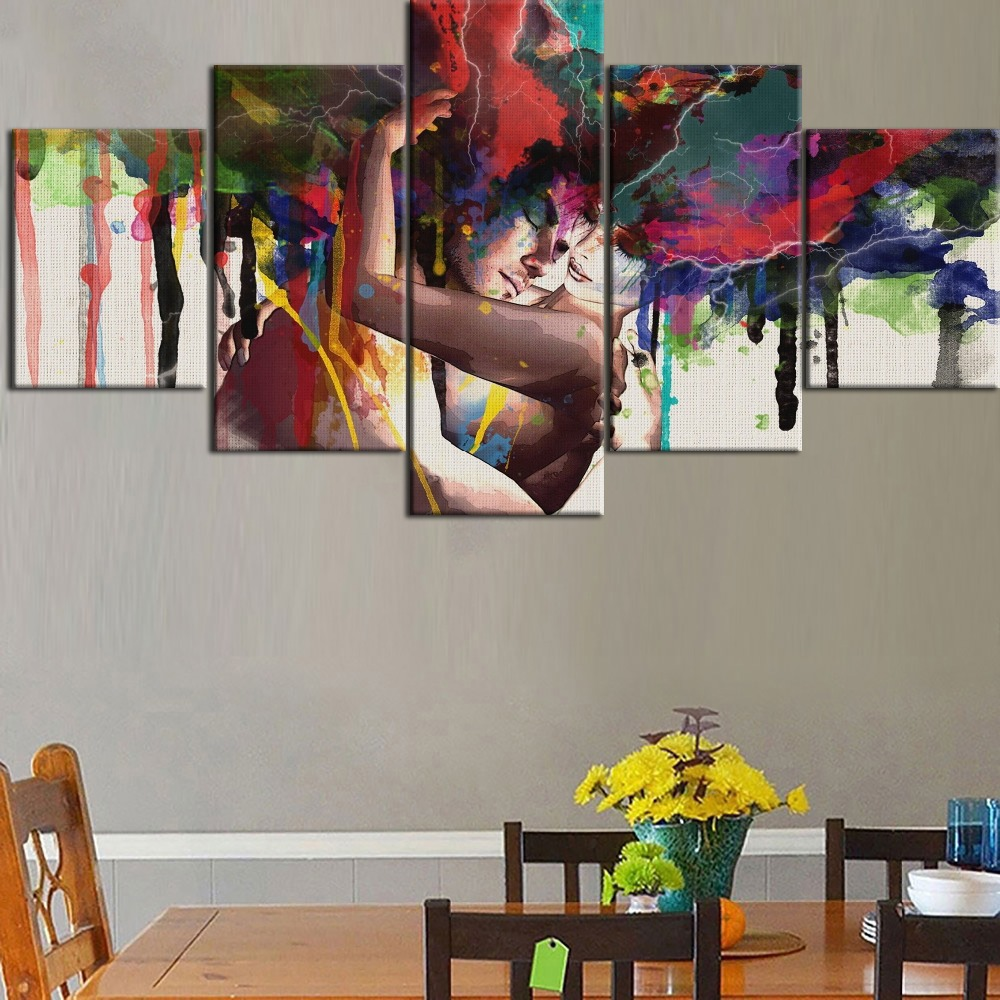 HD Printing 5 Pieces Top-Rated Canvas Painting Graffiti Abstract Artistic Man And Women Type Poster Home Decor Living Room Frame