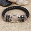 Hot Silver Stainless Steel Skull Bracelets Weave leather bracelet & Bangle Punk jewelry Wholesale Bracelets For Man Woman 5