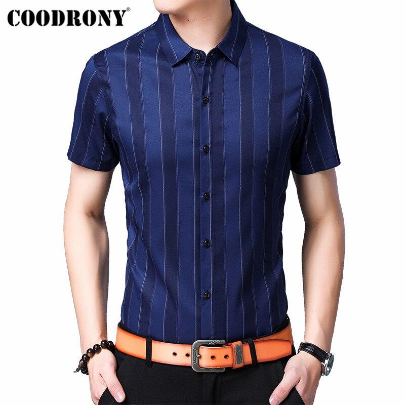 1644b5345 COODRONY Brand Men Shirt 2019 Summer Cool Short Sleeve Cotton Shirt Men  Clothes Streetwear Fashion Business Casual Shirts S96055