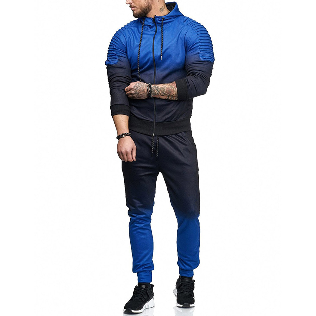 2018 Autumn 2 Pcs Set Plus Size Men'S Long Sleeve Tracksuit + Low Waist Pants Jogging Workout Fitness Jacket Jogger Pants