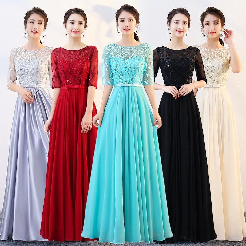 95e2e050f74ab Elegant Royal Blue/Wine Red Lace Satin Long Dresses For Wedding ...