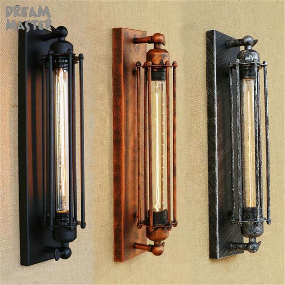 Steam punk Loft Industrial iron rust retro wall lamps Vintage E27 Edison bulb sconces wall light for living room bedroom lamp black color pipe retro loft vintage iron shade wall lamp sconces industrial home lighting fixture for living room free shipping