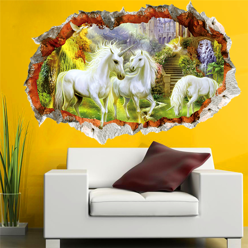 3d Effect Unicorn Paradise Through Wall Stickers For Kids